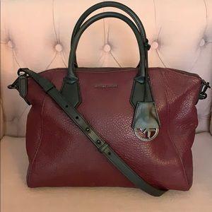 Michael Kors maroon leather tote bag